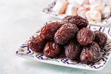 Fresh Medjool Dates. Ramadan kareem. Copy space. Stock Photo