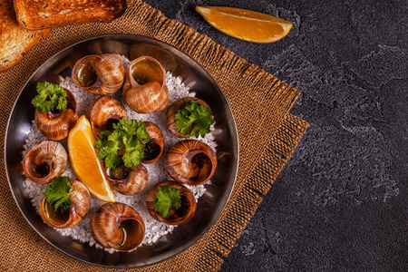 Fried snails with lemon, baguette and parsley, top view. Stock Photo