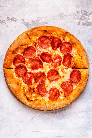 Pepperoni Pizza, top view.