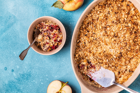 Apple cherry crisp crumble, top view