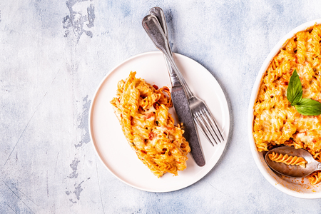 Mac and cheese, pasta baked with cheese sauce, top view. Stock Photo