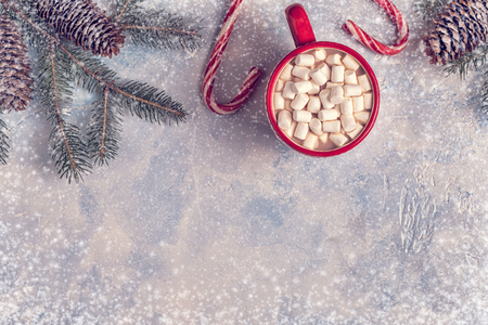 Christmas background with hot cocoa and marshmallow. Top view with copy space.
