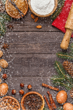 Ingredients for cooking Christmas baking. Top view with copy space. Archivio Fotografico - 109272320