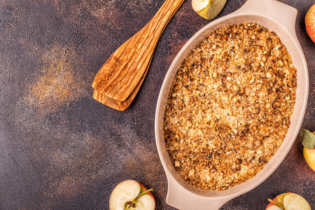 Apple cherry crisp crumble, top view