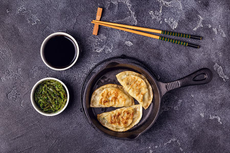 Gyoza or dumplings snack with soy sauce, top view. Stock Photo - 111859305