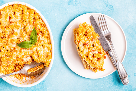 Mac and cheese, pasta baked with cheese sauce, top view. 写真素材