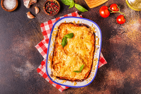 Traditional italian lasagna with vegetables, minced meat and cheese, top view, copy space. Stock Photo - 112413952