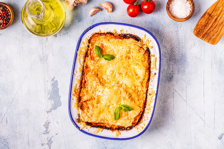 Traditional italian lasagna with vegetables, minced meat and cheese, top view, copy space. Stock Photo - 112413968