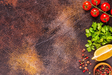 Food background with vegetables, spices,  herbs, top view. 写真素材