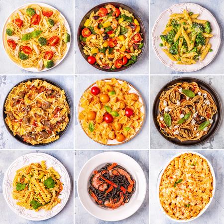 Collage de divers plats de pâtes, vue de dessus.