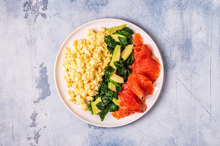 Ketogenic diet breakfast, scrambled eggs, salmon, avocado, spinach, top view.