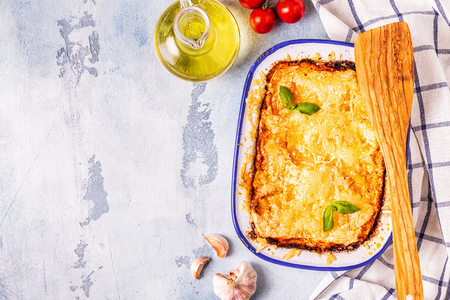 Traditional italian lasagna with vegetables, minced meat and cheese, top view, copy space. Stock Photo - 117813979