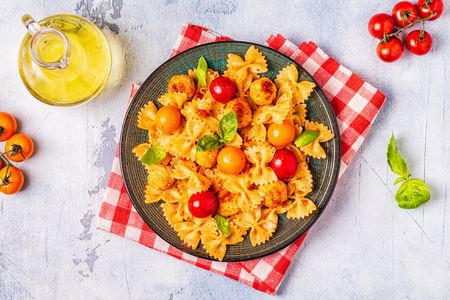 Pasta with meatballs and tomato sauce, top view, copy space. Banco de Imagens