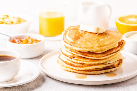 Delicious homemade breakfast with pancakes, selective focus. 版權商用圖片