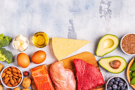 Ketogenic diet concept. Balanced low carb, high good fat , healthy food.