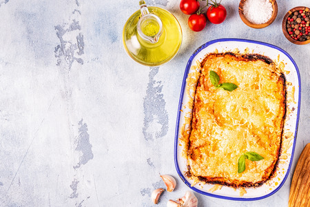 Traditional italian lasagna with vegetables, minced meat and cheese, top view, copy space. Stock Photo - 120162952