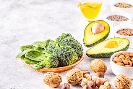Vegan sources of omega 3 and unsaturated fats. Concept of healthy food.