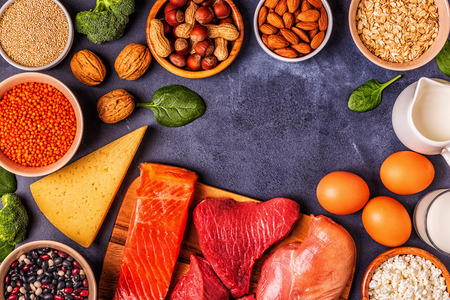 Sources of healthy protein - meat, fish, dairy products, nuts, legumes, and grains. Фото со стока