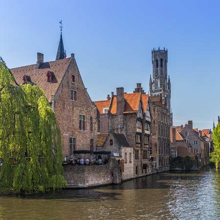 Beautiful canal and traditional houses in the old town of Bruges (Brugge), Belgium Stock Photo