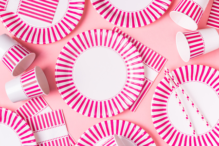 Eco-friendly disposable paper tableware. Party, picnic or bbq concept. Stock Photo