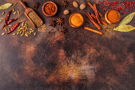 Spices ingredients for cooking. Spices concept. Top view. Reklamní fotografie