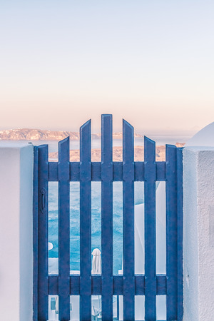 Wonderful view of City buildings on Santorini, Greece Foto de archivo - 123657011