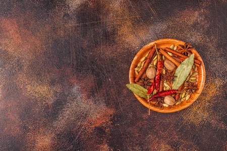 Spices ingredients for cooking. Spices concept. Top view.