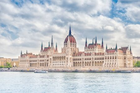 A landscape view of Budapest city, the Hungarian parliament building - one of the most beautiful buildings in the Hungarian capital.
