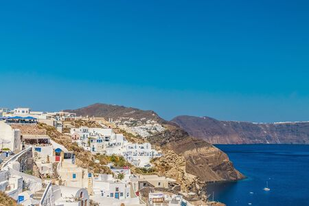 White architecture of Oia village on Santorini island, Greece.