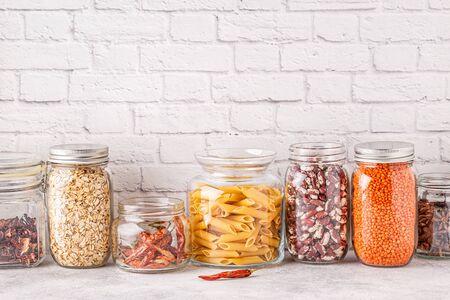 Products in  glassware. Eco friendly food storage, zero waste concept.
