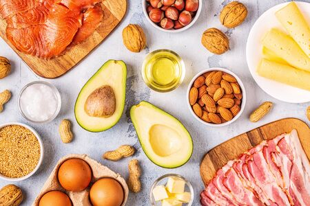 Keto, ketogenic diet, low carb, healthy food background, top view.