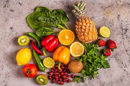 Fruits and vegetables rich in vitamin C. Healthy eating. Top view