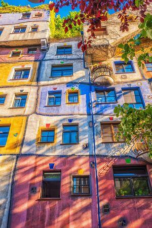 The view of Hundertwasser house in Vienna, Austria.