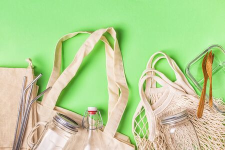 Cotton bags and glassware for free plastic shopping. Zero waste concept.