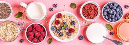 Breakfast, oatmeal with berries, top view. Фото со стока