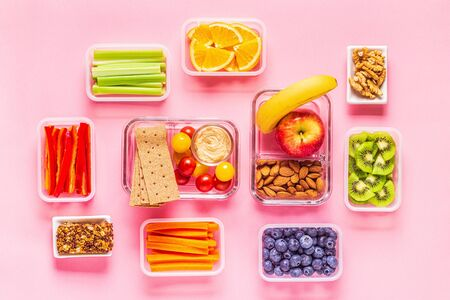 Healthy snack on a pastel background, top view. 스톡 콘텐츠 - 133094373