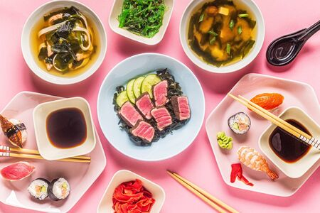 Table with traditional japanese food, top view. Stock Photo