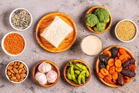 Estrogen-Rich Foods, Menopause Diet. Top view.