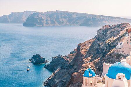 White architecture of Oia village on Santorini island, Greece.