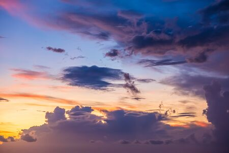 Beautiful evening sky with clouds, sunset, abstract blurred background.