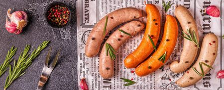 homemade raw sausage for grilling, top view Stock Photo