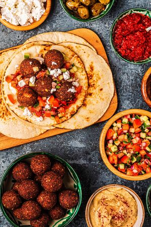 Falafel - traditional dish of Israeli and Middle Eastern cuisine, top view. Reklamní fotografie