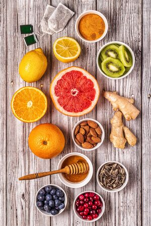 Superfoods for Immunity boosting and cold remedies, top view. 写真素材