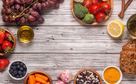 Foods that could lower risk of cancer, top view Stock Photo