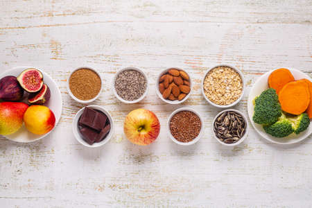 Products rich in fiber. Healthy diet food. Top view. Reklamní fotografie