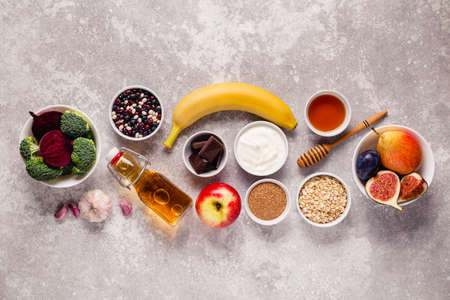 Products for healthy bowel. Natural food for gut. Top view. Reklamní fotografie