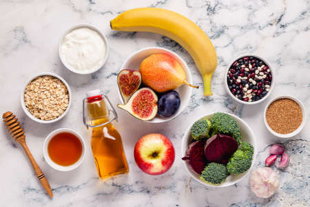 Products for healthy bowel. Natural food for gut. Top view. Imagens