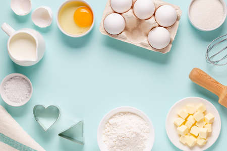 Baking or cooking background. Ingredients, kitchen items for baking. Top view. Imagens