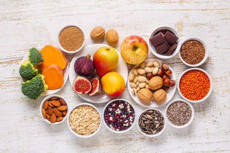Products rich in fiber. Healthy diet food. Top view. Imagens