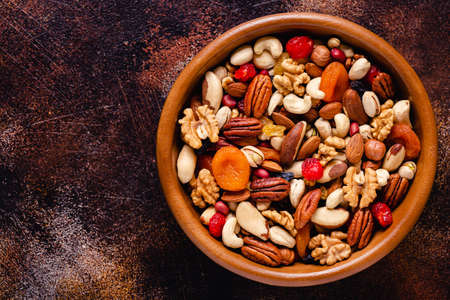 Healthy Snack of Nuts and Dried Fruit, top view.